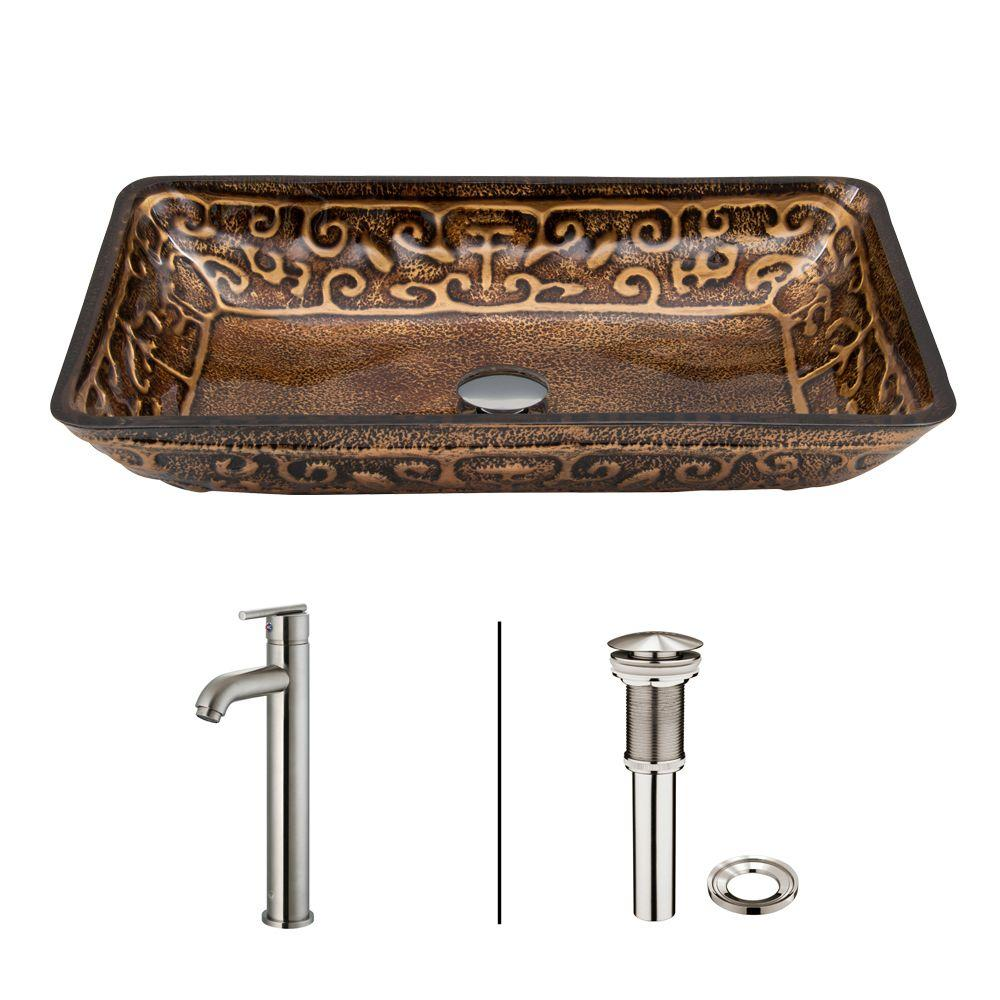 Rectangular Glass Vessel Sink in Golden Greek with Faucet Set in