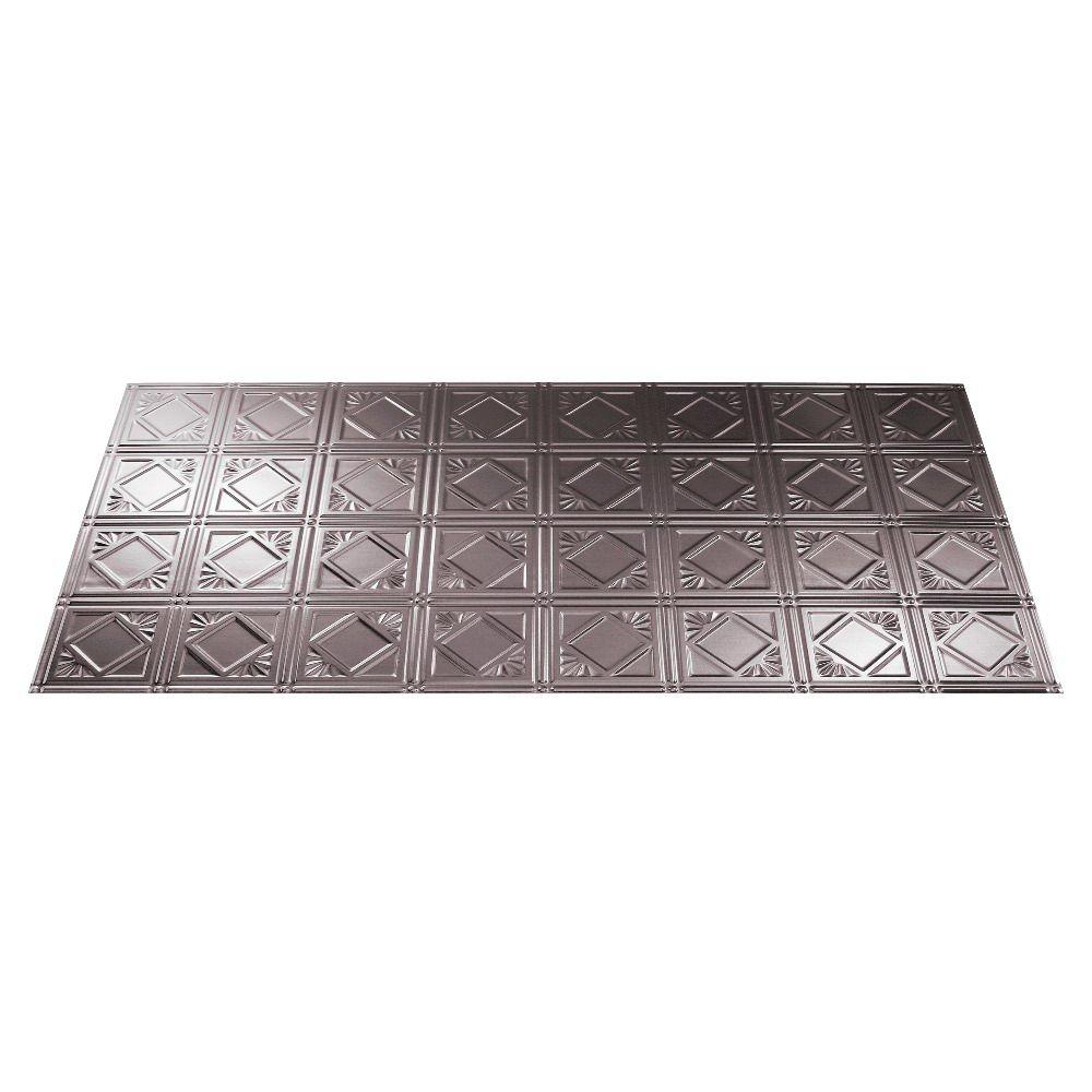 Fasade Traditional 4 2 ft. x 4 ft. Brushed Nickel Lay-in Ceiling Tile