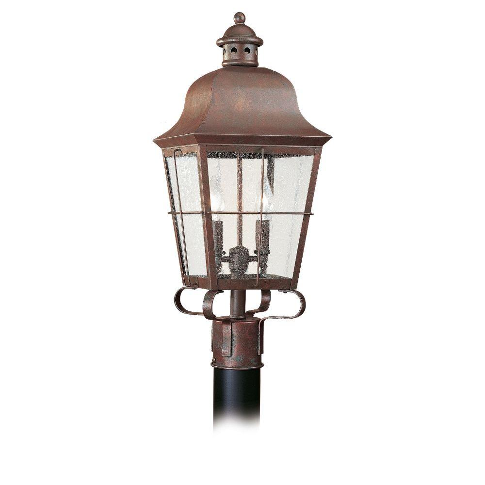 Sea Gull Lighting Chatham 2-Light Outdoor Weathered Copper Post Top-8262-44 -