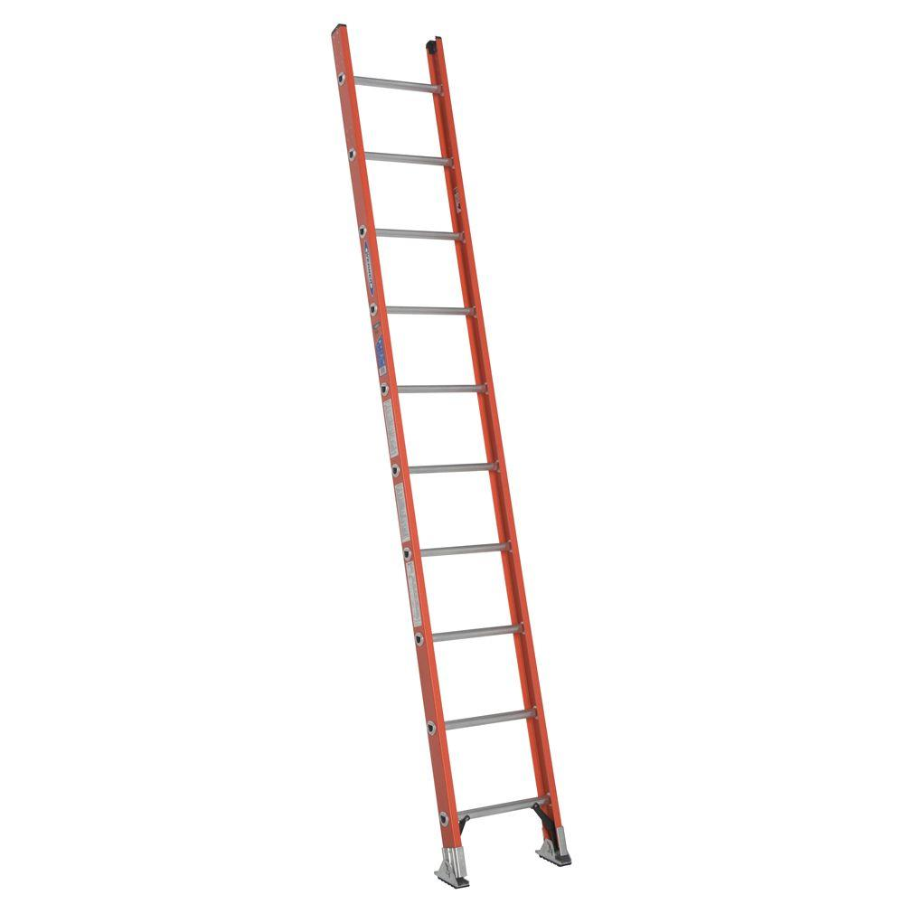 10 ft. Fiberglass D-Rung Straight Ladder with 300 lb. Load Capacity