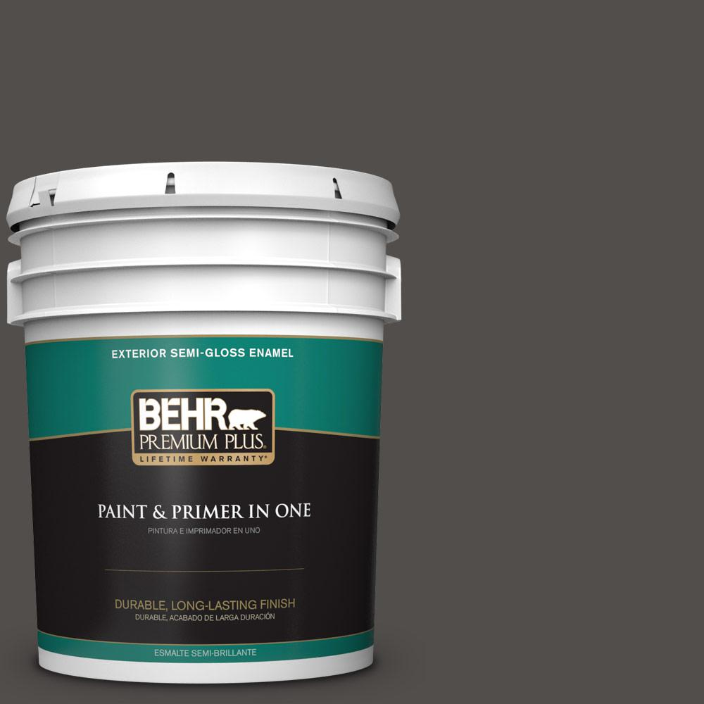 BEHR Premium Plus 5 gal. #PPU24-02 Berry Brown Semi-Gloss Enamel Exterior