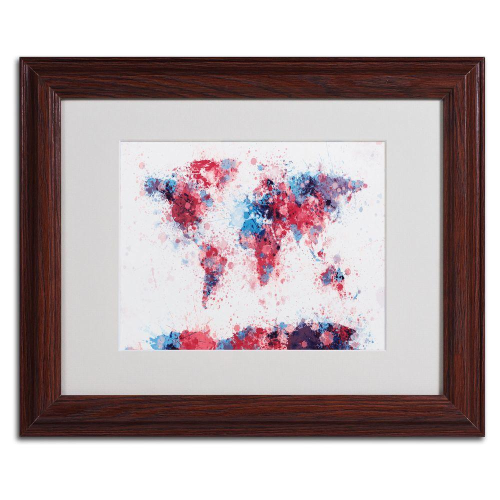 11 in. x 14 in. Paint Splashes World Map Matted Framed