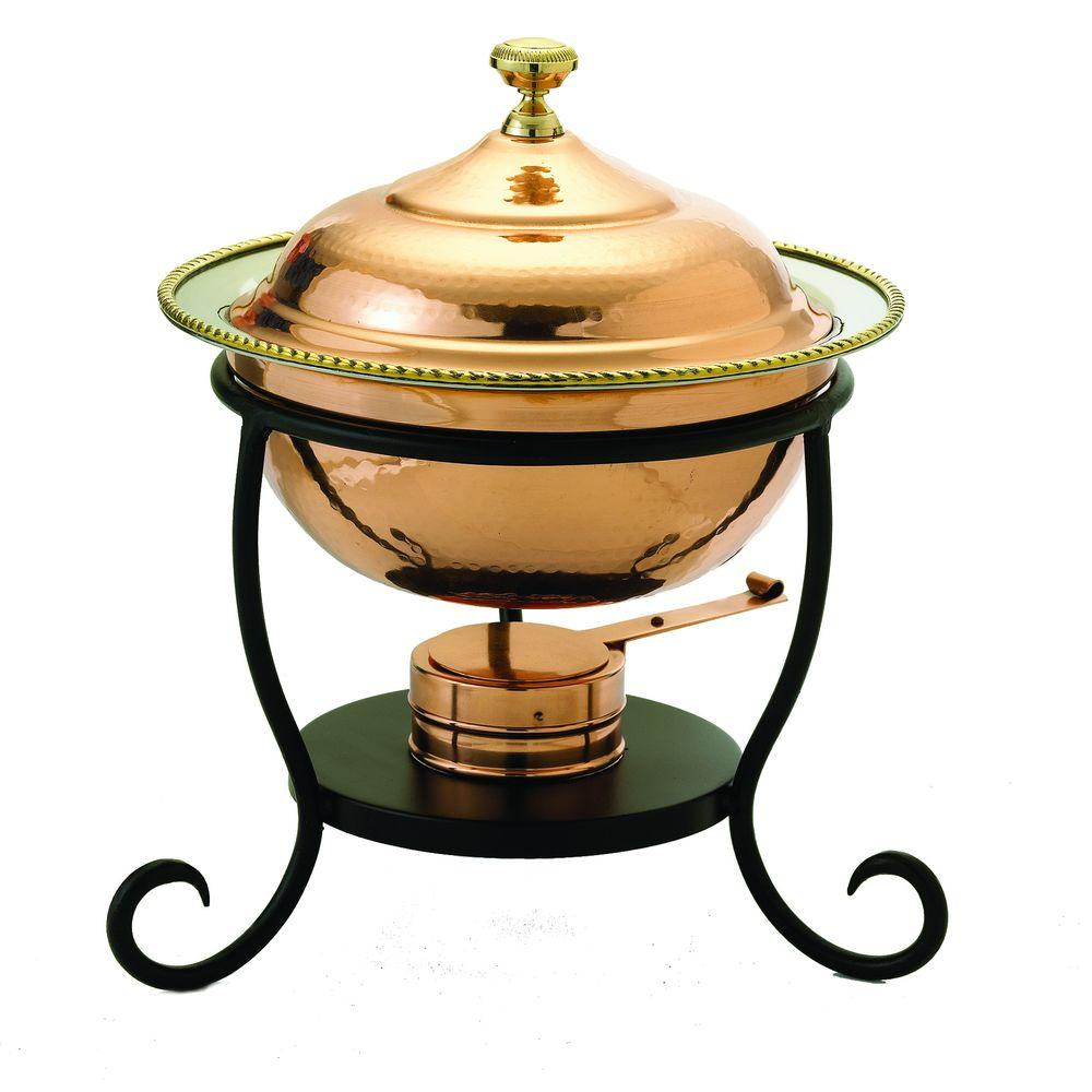 Old Dutch 3 qt. 12 in. x 15 in. Round Decor Copper over Stainless Steel Chafing Dish