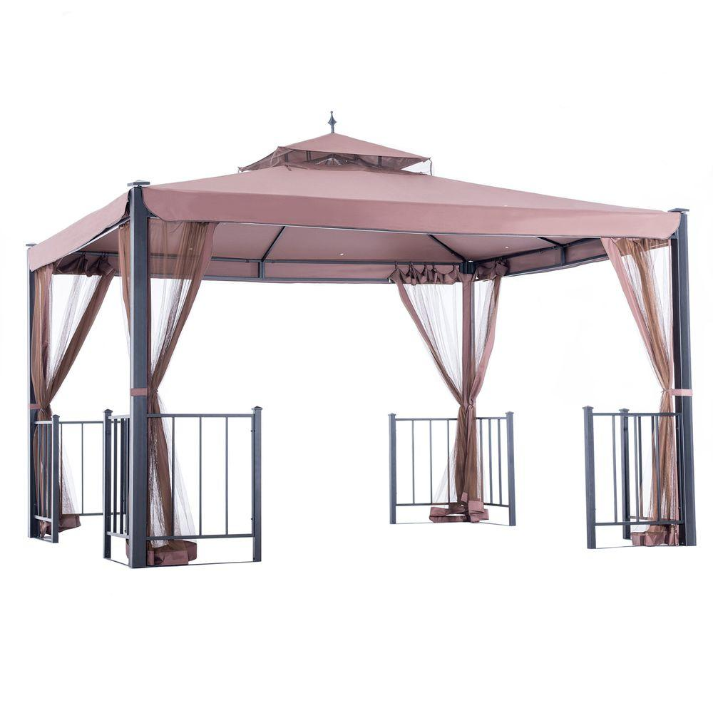 Sunjoy Marin 12 ft. x 10 ft. Dull Red Steel Gazebo-110101006