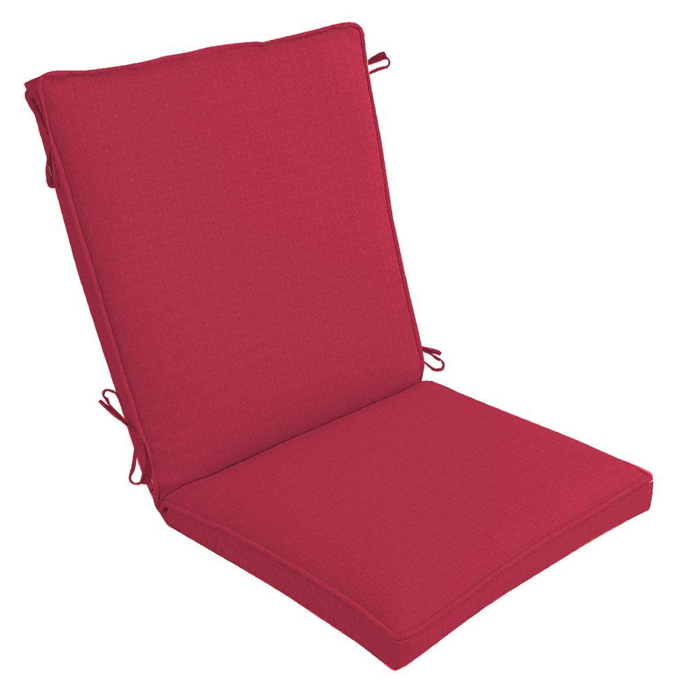Arden Chili Red Solid Welted High Back Outdoor Chair Cushion-DISCONTINUED