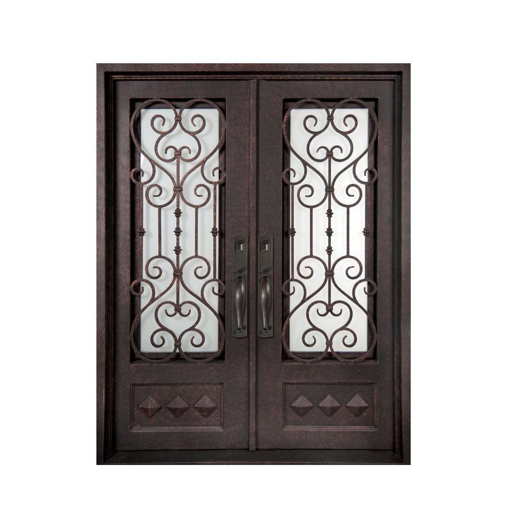 Iron Doors Unlimited 62 in. x 98 in. Vita Francese Classic 3/4 Lite Painted Antique Copper Decorative Wrought Iron Prehung Front Door