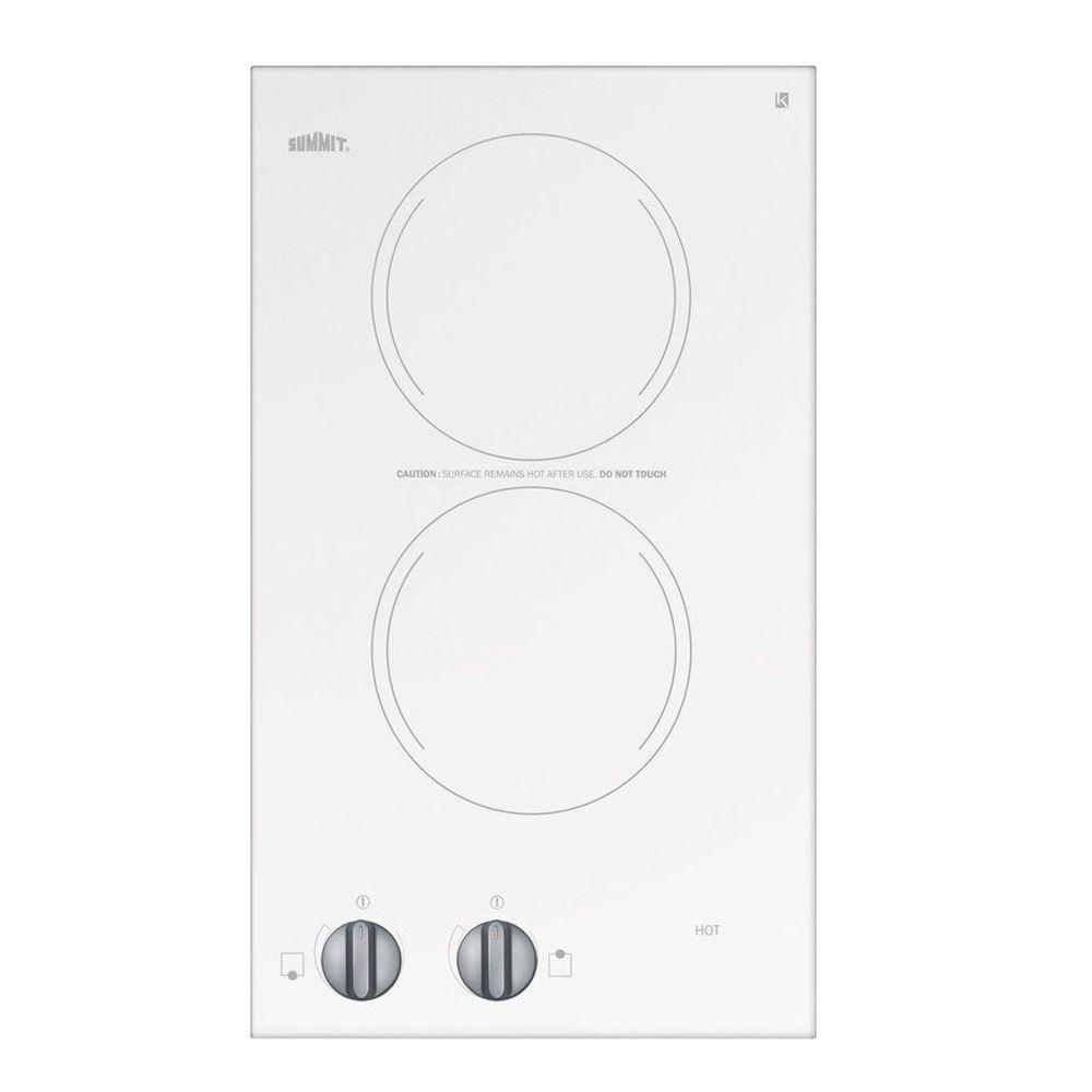 null 12 in. Radiant Electric Cooktop in White with 2 Elements