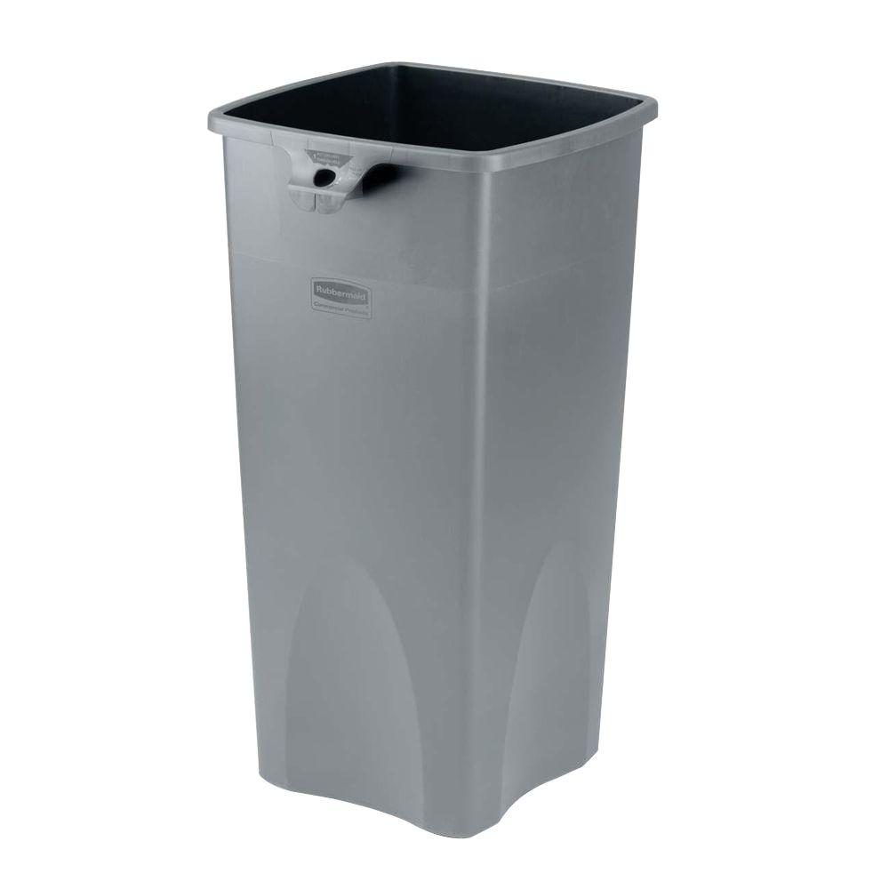 23 Gal. Grey Square Plastic Trash Can