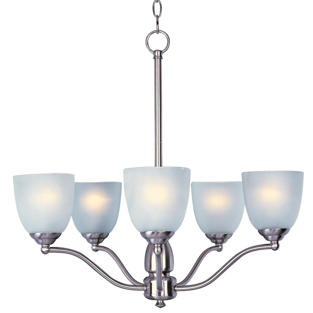 Stefan 5-Light Satin Nickel Chandelier with Frosted Shade
