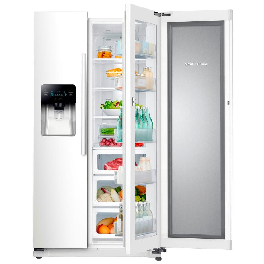 24.7 cu. ft. Side by Side Refrigerator in White with Food