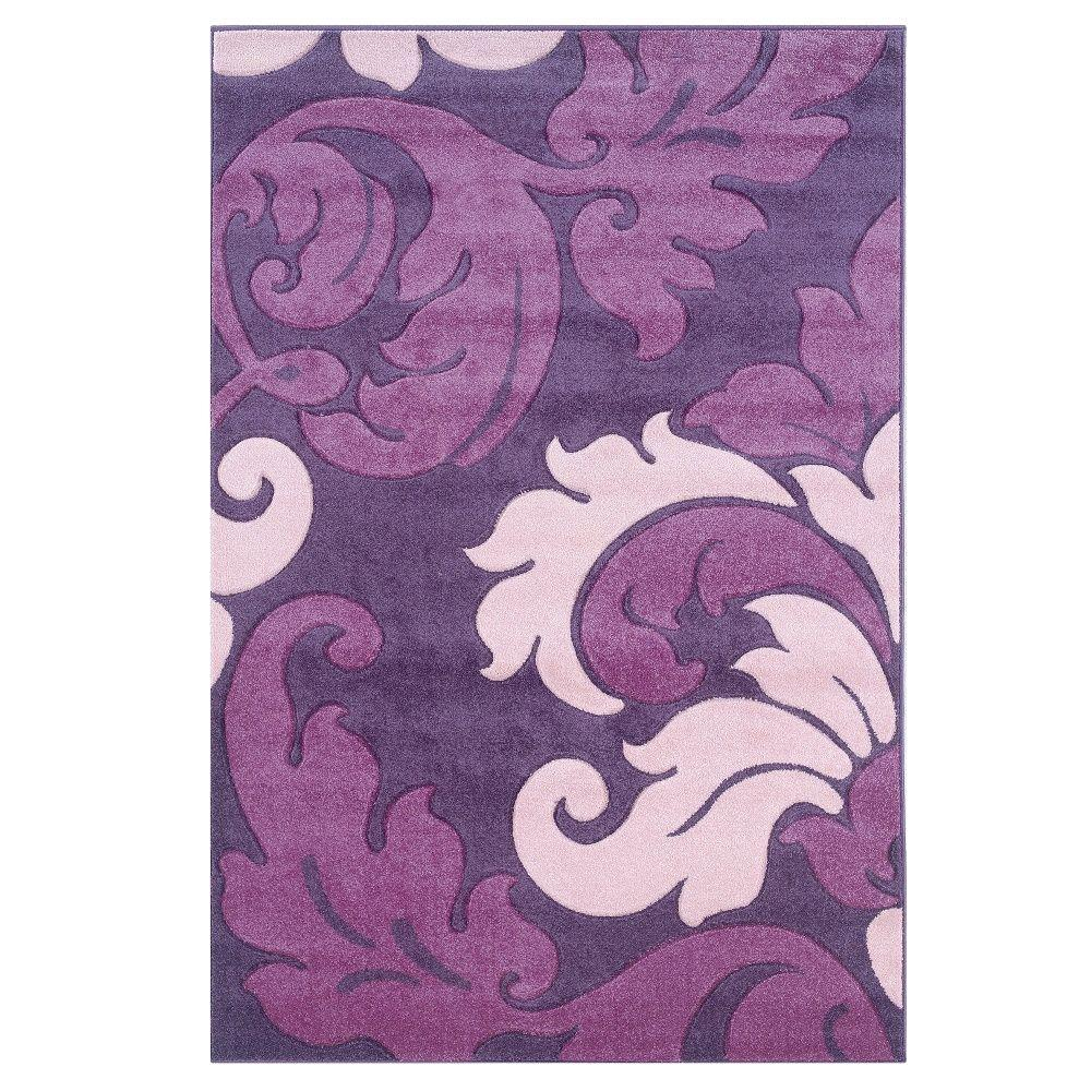Linon Home Decor Corfu Collection Purple and Baby Pink 5 ft. x 7 ft. 7 in. Indoor Area Rug
