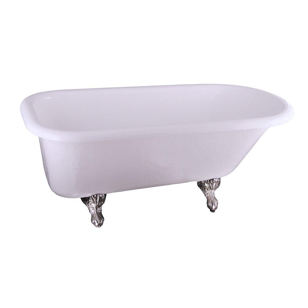 5.6 ft. Acrylic Claw Foot Roll Top Tub in White with