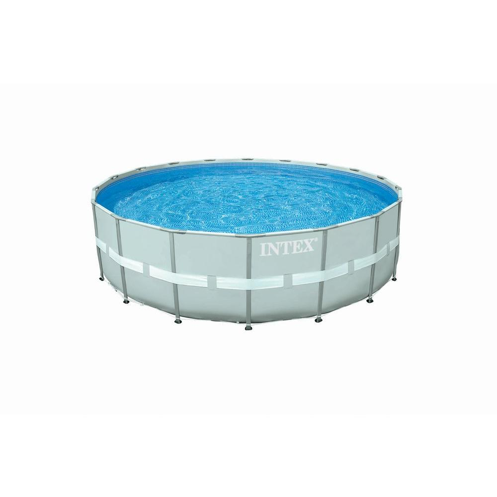 Intex Pools 18 ft. Round x 52 in. Deep Ultra Frame Combo Pump Swimming Pool Set Gray 28333EG