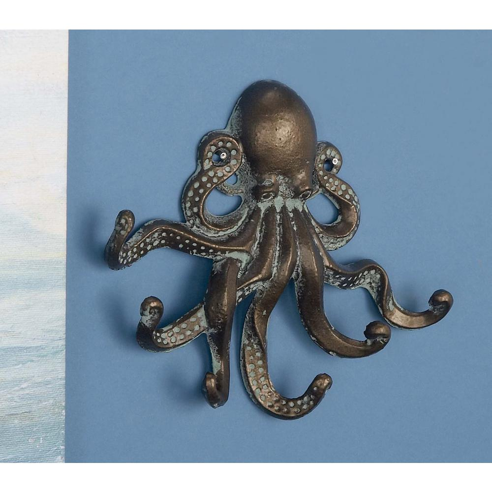 8 in. Distressed Brown and White Iron Metal Octopus Wall Hooks
