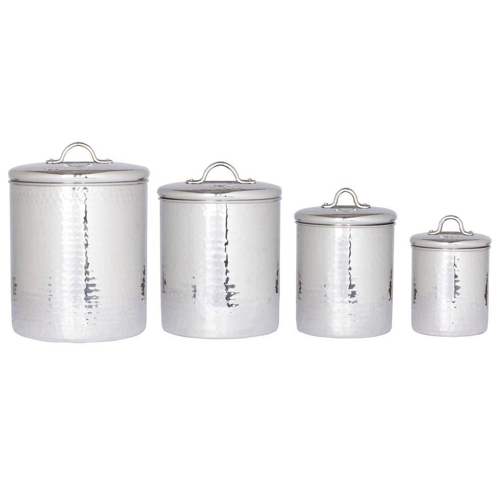 Old Dutch 4 qt. 2 qt. 1.5 qt. 1 qt. Stainless Steel Hammered Canister Set with Fresh Seal Covers (4-Piece)