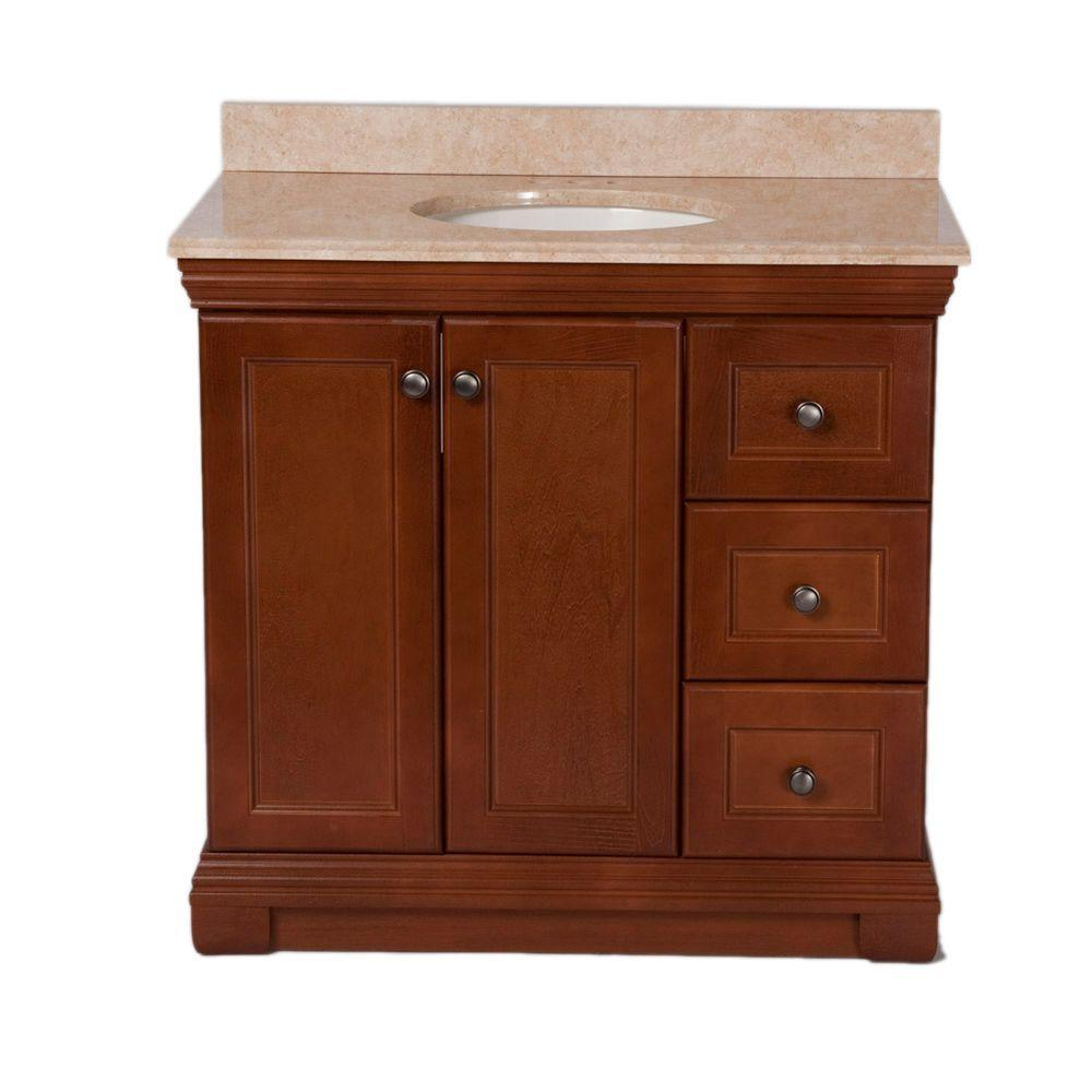 St. Paul Brentwood 36 in. Vanity in Amber with Stone Effects Vanity Top in Oasis