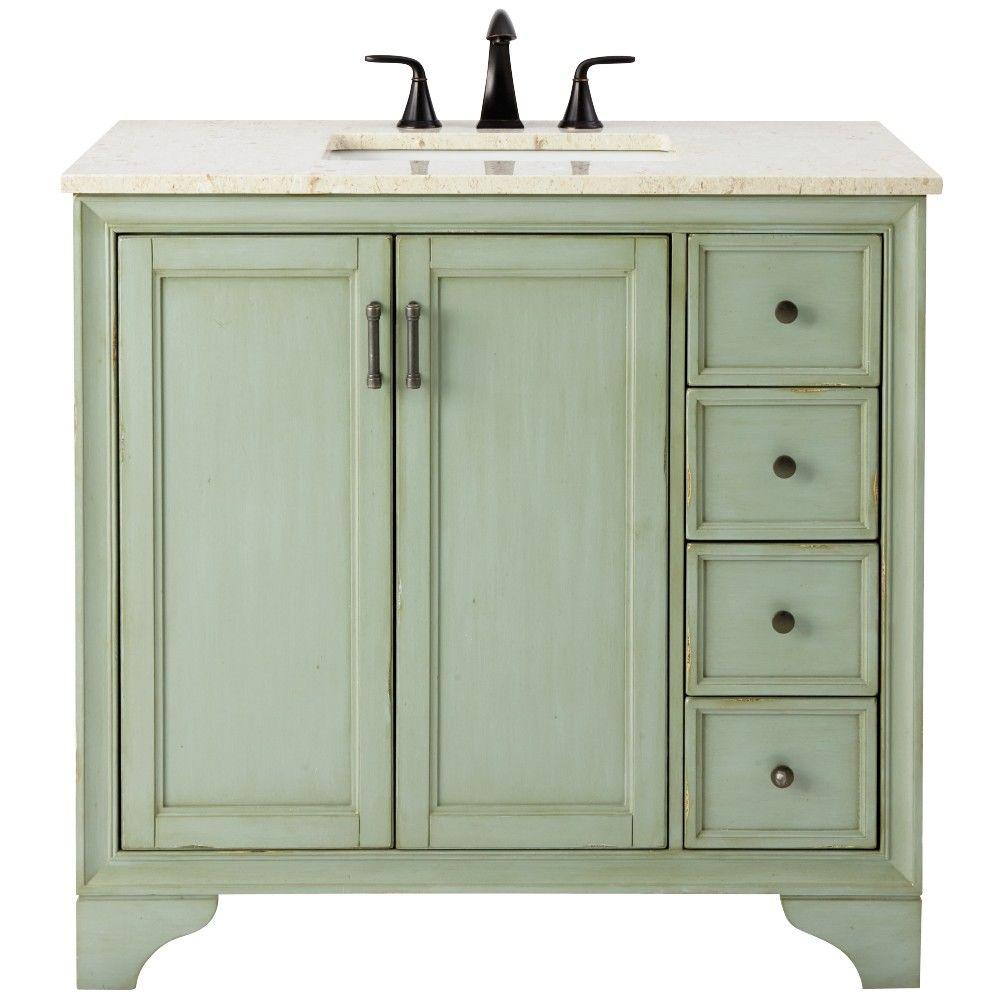 d bath vanity in antique green with