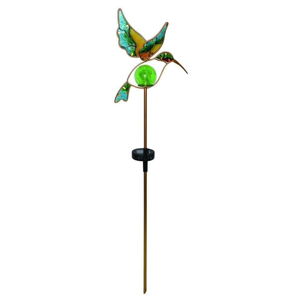Pearl Bronze Solar Powered LED Outdoor Glass Hummingbird Stake Light