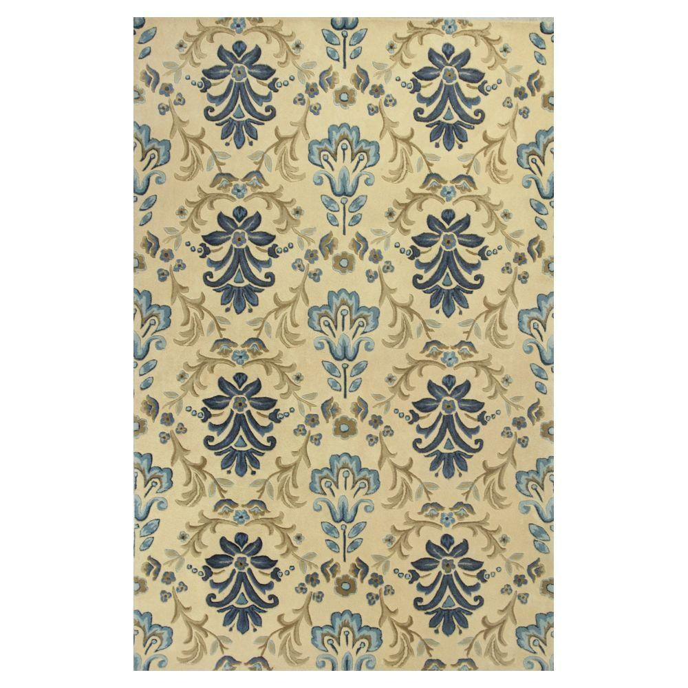 Kas Rugs Perfect Damask Ivory/Blue 3 ft. 6 in. x 5 ft. 6 in. Area Rug