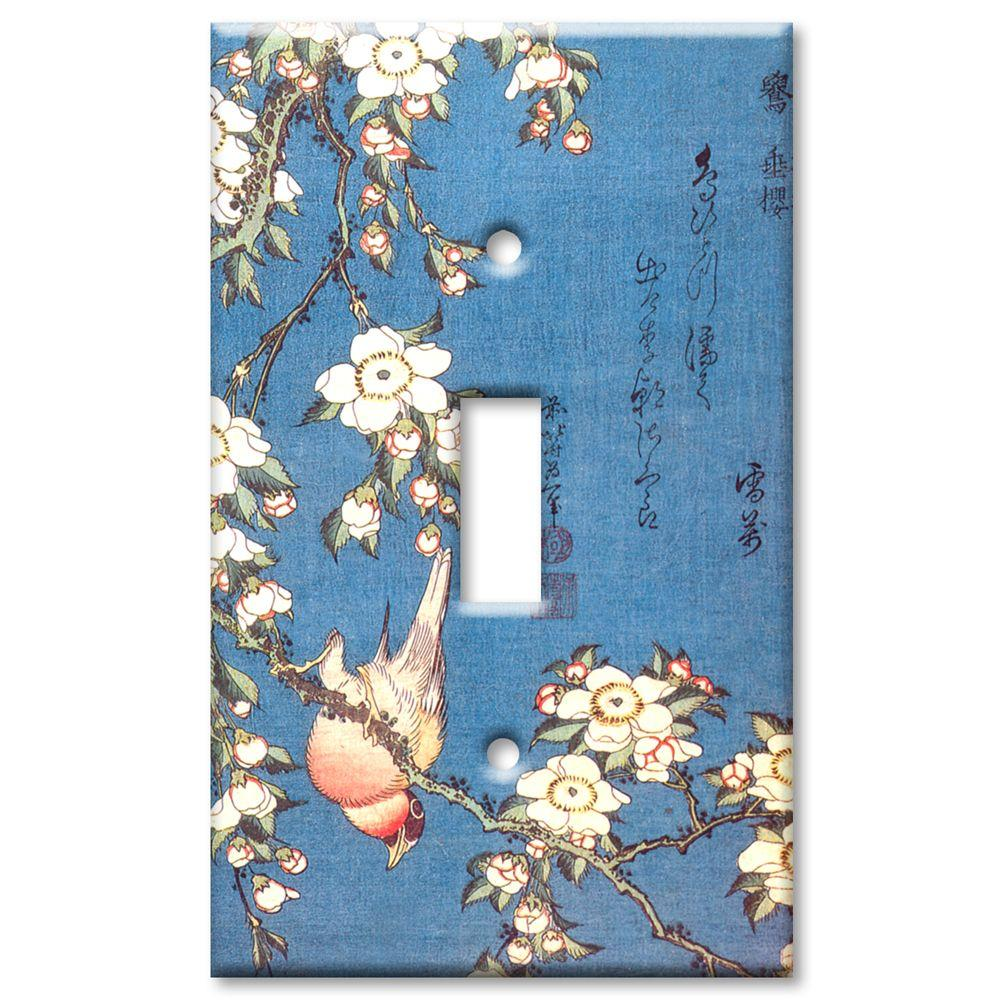 Art Plates Hokusai Weeping Cherry and Bullfinch 1 Toggle Wall Plate