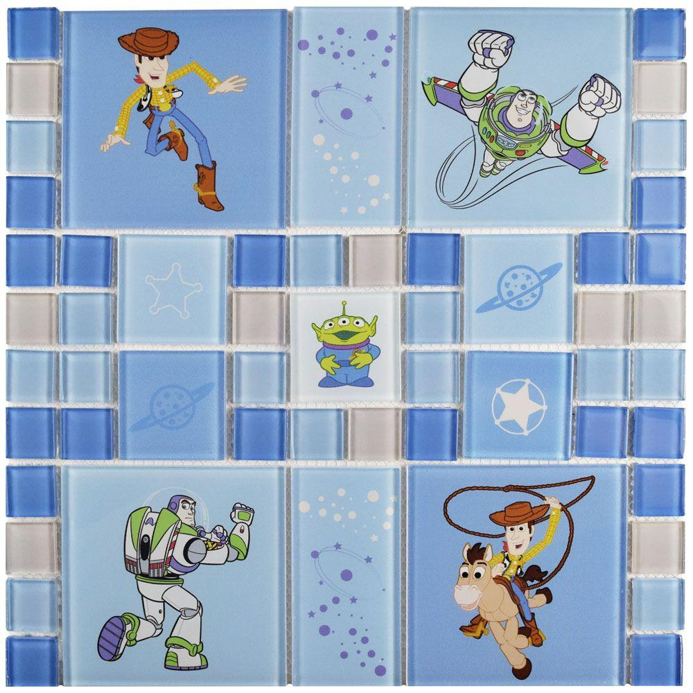 Disney Toy Story Blue 11-3/4 in. x 11-3/4 in. x 4 mm Glass Mosaic Tile, Blue/High Sheen