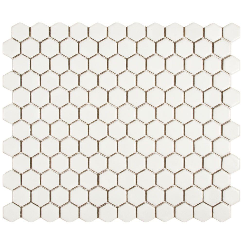 Merola Tile Metro Hex Matte White 10-1/4 in. x 11-3/4 in. x 5 mm Porcelain Mosaic Tile (8.54 sq. ft. / case)