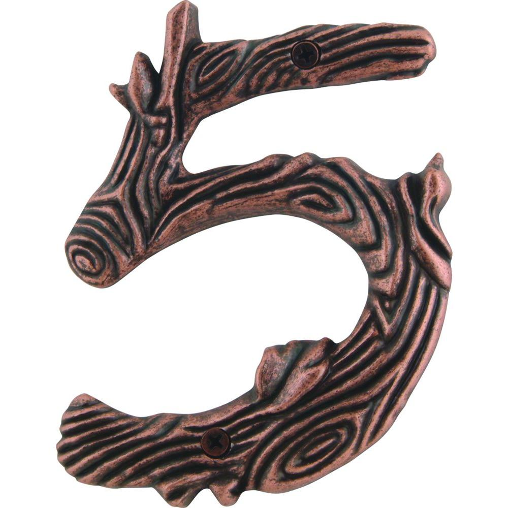 Atlas Homewares Twig Collection 5 in. Copper Number 5