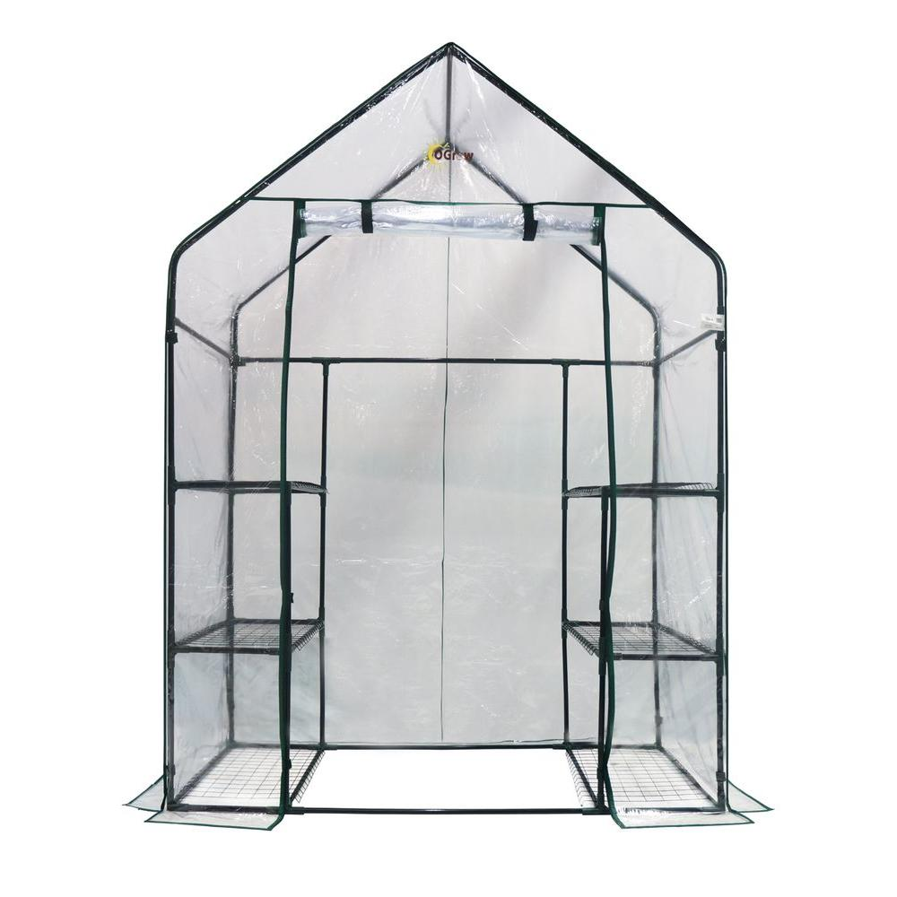 Ogrow Greenhouses 56 in. W x 29 in. D Deluxe Walk-In 3-Tier 6 Shelf Portable Greenhouse OG6834-S Greenhouse, Hoop House, Grow House, High Tunnel, Hothouse, Plant House, Grow Tunnel, Garden Supplies