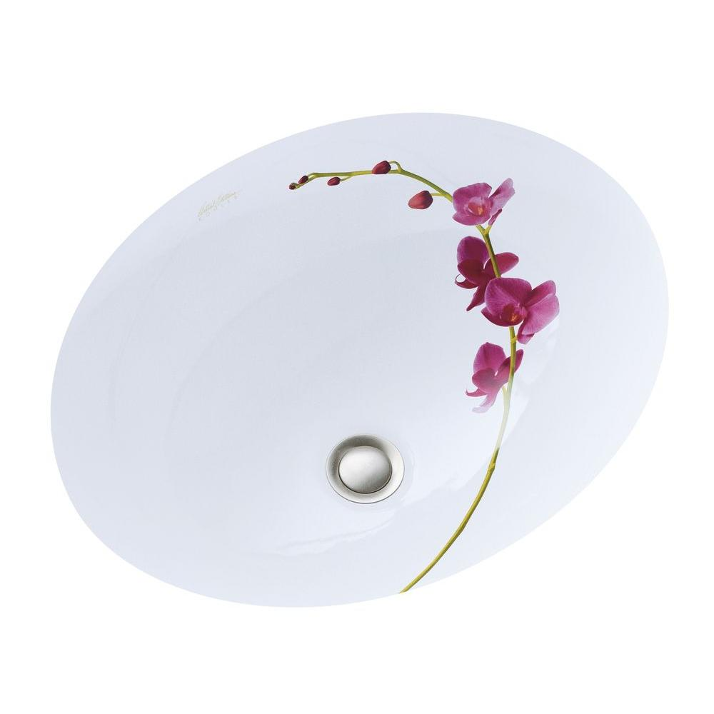 Caxton Vitreous China Undermount Bathroom Sink in White with Soliloquy Design