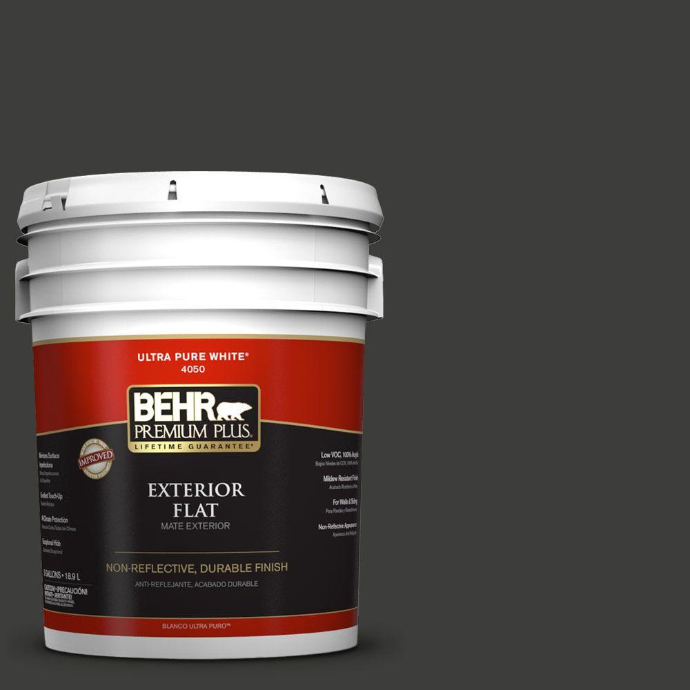 5-gal. #S-H-790 Black Suede Flat Exterior Paint