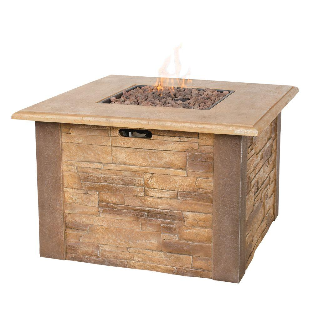 UniFlame Faux 17 in. x 17 in. Stacked Stone Propane Gas