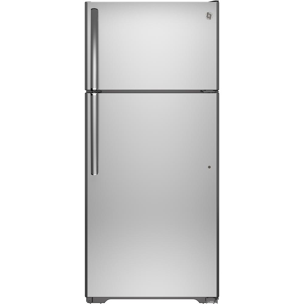 GE 15.5 cu. ft. Top Freezer Refrigerator in Stainless Steel-GTE16GSHSS -
