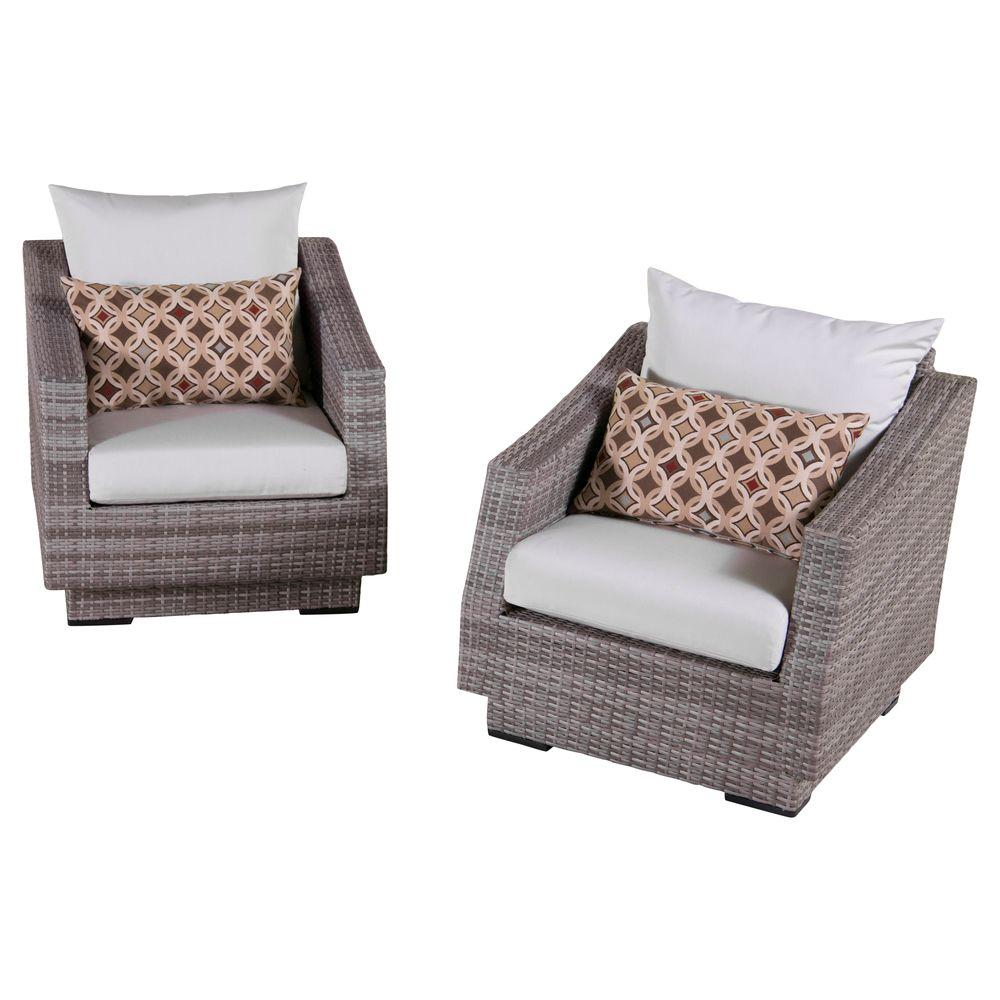 RST Brands Cannes Patio Club Chair with Moroccan Cream Cushions