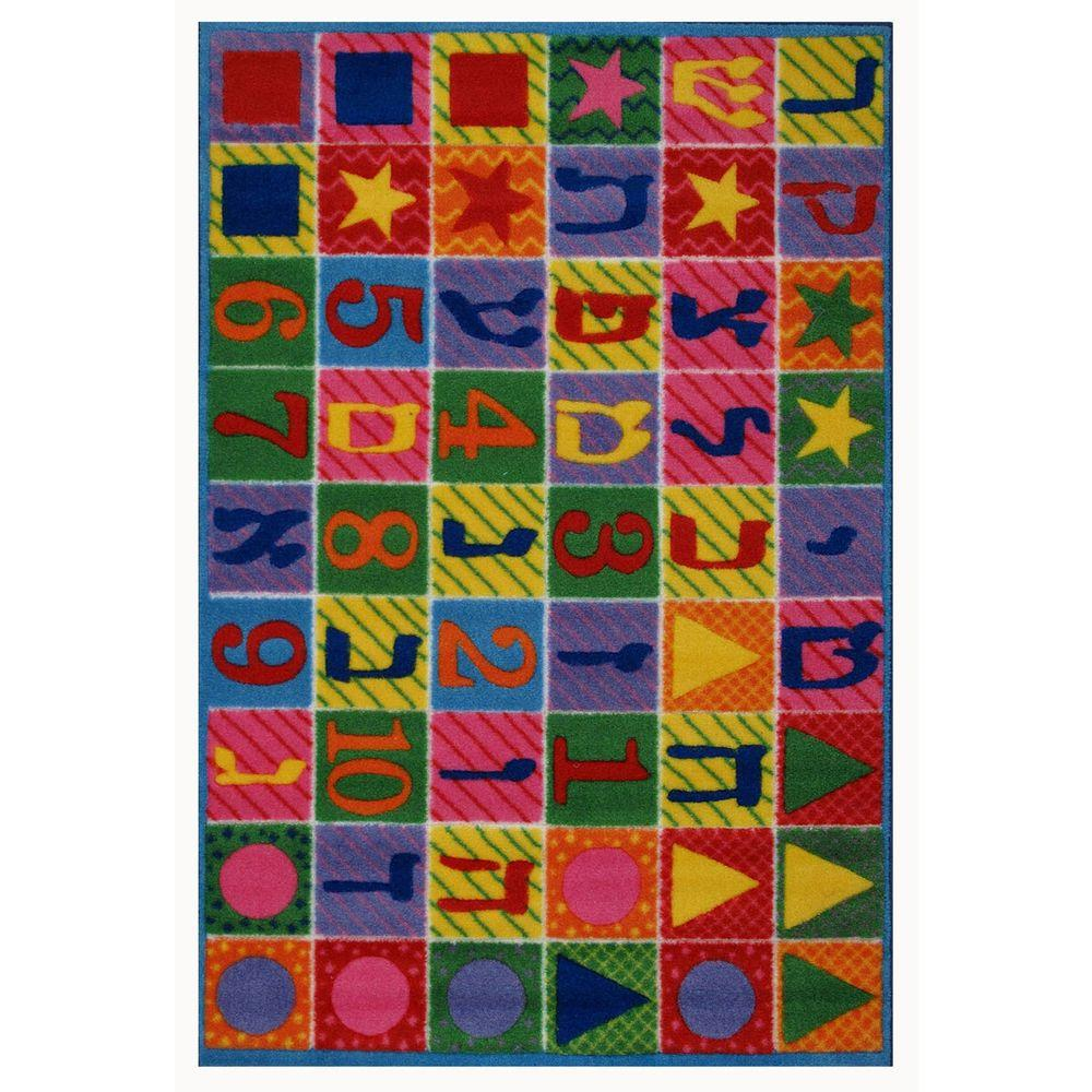 LA Rug Supreme Hebrew Numbers & Letters Multi Colored 5 ft. 3 in. x 7 ft. 6 in. Area Rug