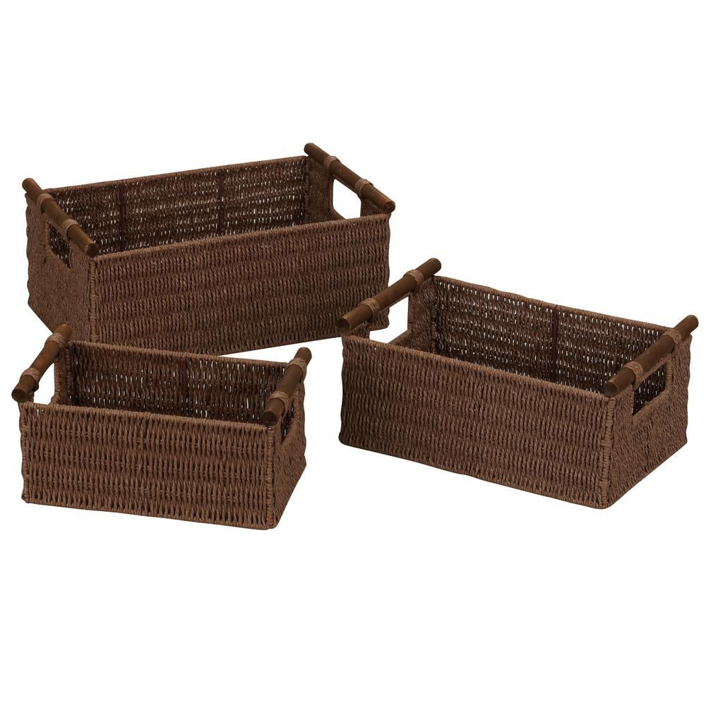 Household Essentials Rich Brown Stained Paper Rope Set of 3 Basket