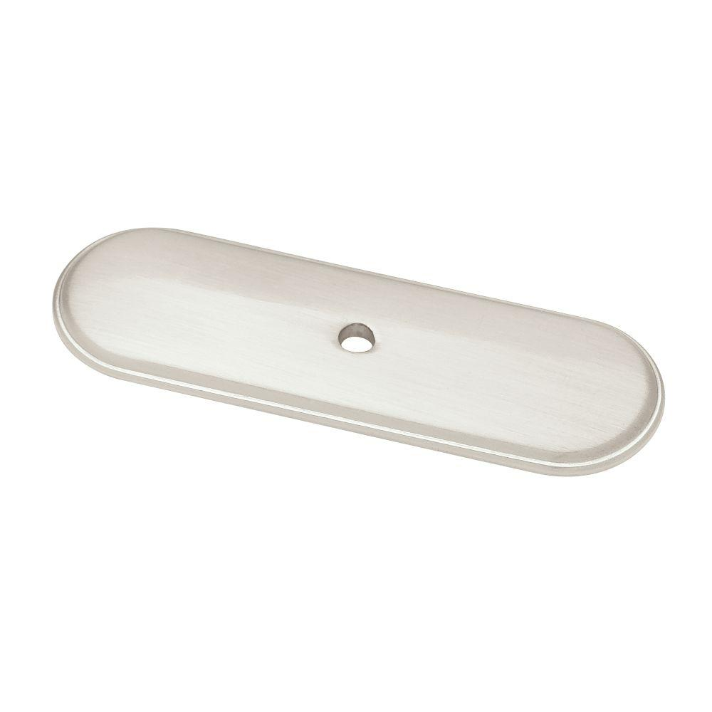 Liberty 3 in. Satin Nickel Raised Oval Cabinet Knob Backplate