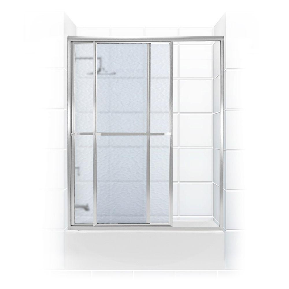 Coastal Shower Doors Paragon Series 56 in. x 58 in. Framed Sliding Tub Door with Towel Bar in Chrome and Obscure Glass