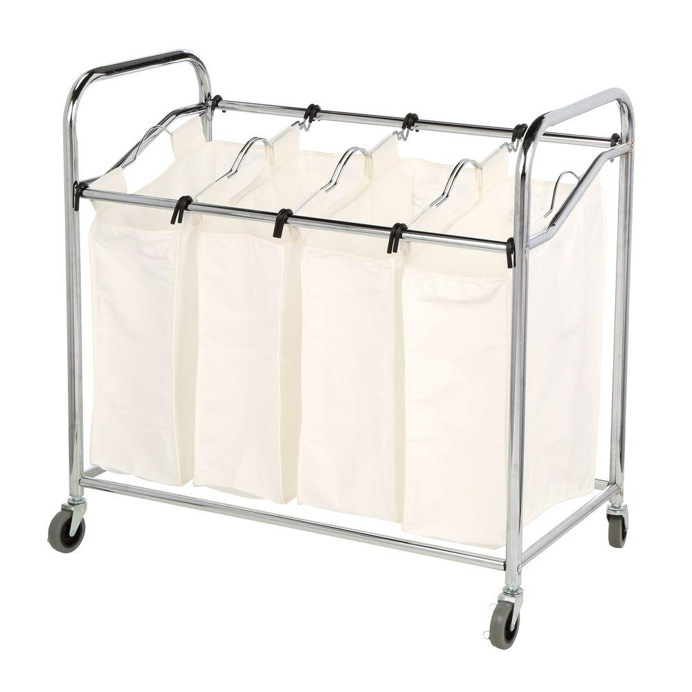 Whitmor Chrome Laundry Collection 36 in. x 33 in. Chrome and Canvas 4-Section Laundry Sorter
