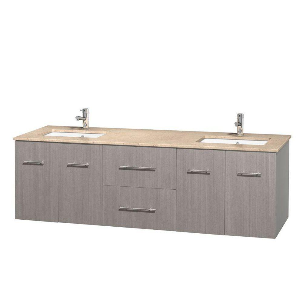 Wyndham Collection Centra 72 in. Double Vanity in Gray Oak with Marble Vanity Top in Ivory and Undermount Sinks
