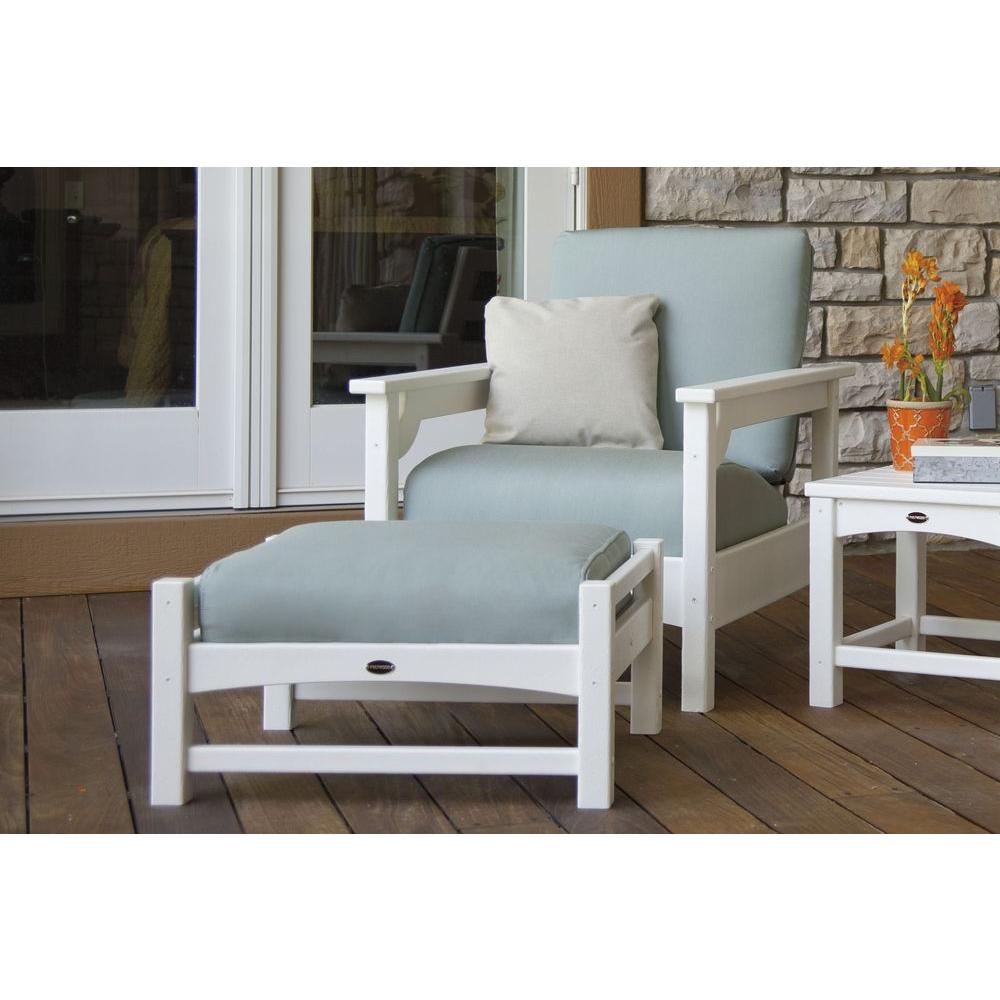 Club White 3 Piece Plastic Patio Deep Seating Set With Sunbrella Spa  Cushions