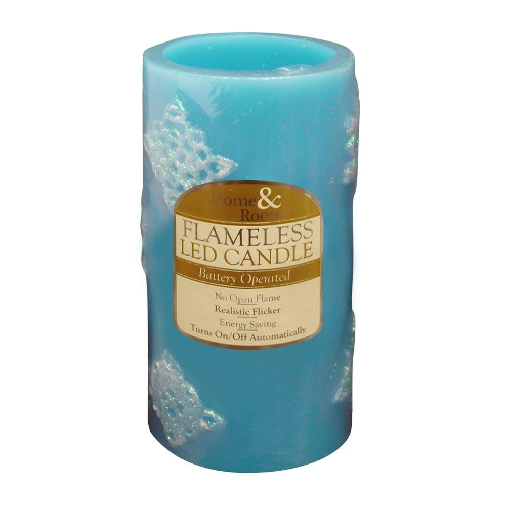 Brite Star 3 in. x 6 in. Blue Flameless LED Candle Design
