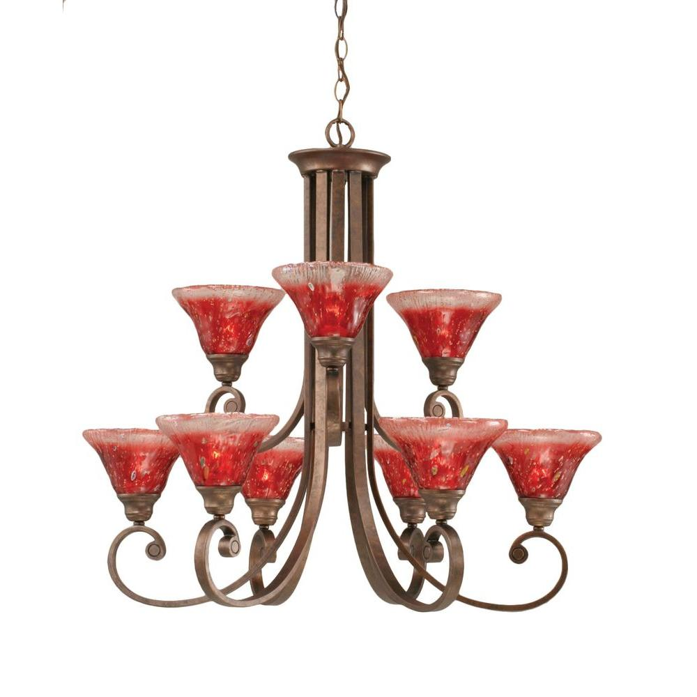 Concord 9-Light Bronze Chandelier with Raspberry Crystal Glass