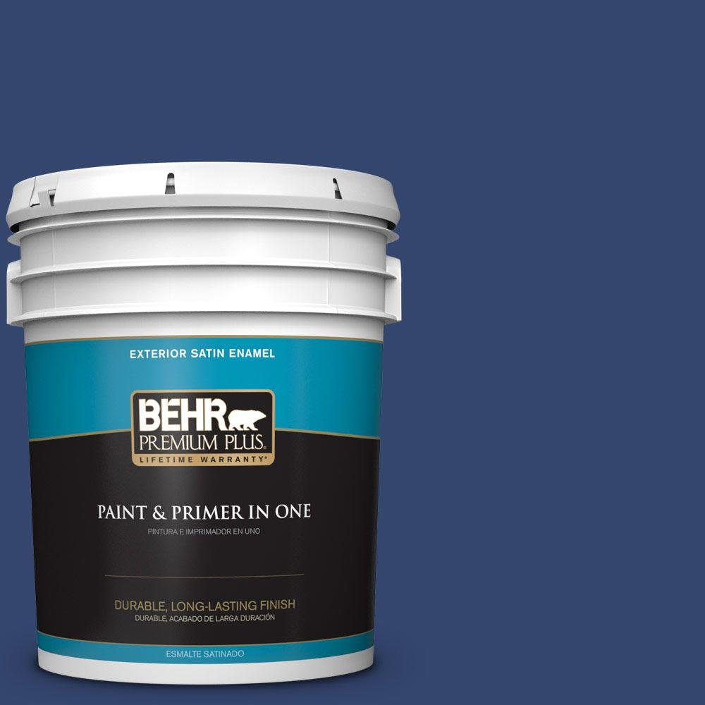 BEHR Premium Plus 5-gal. #S-H-610 Mountain Blueberry Satin Enamel Exterior Paint