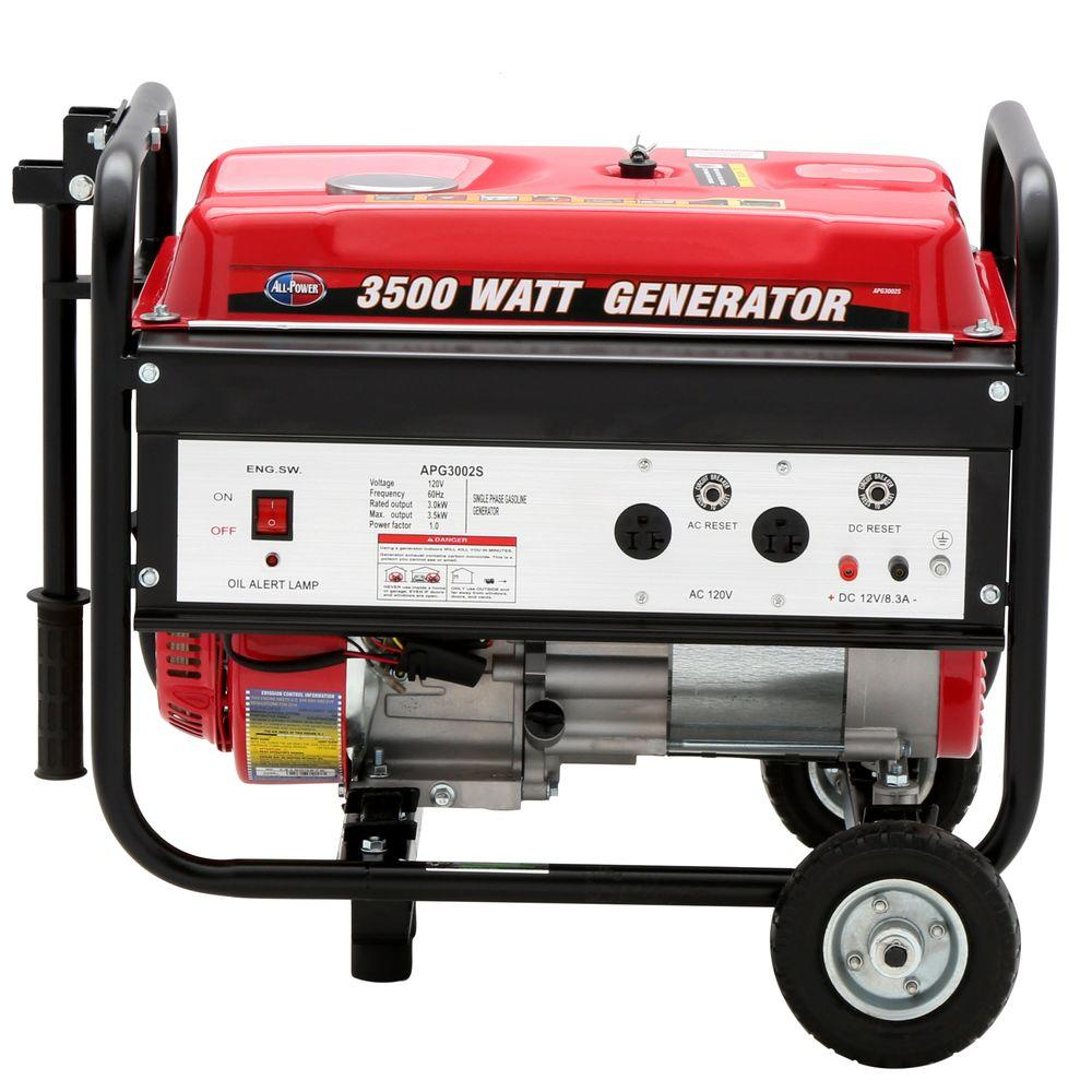 All Power 3,000-Watt 196cc Gasoline Powered Generator with Mobility Kit