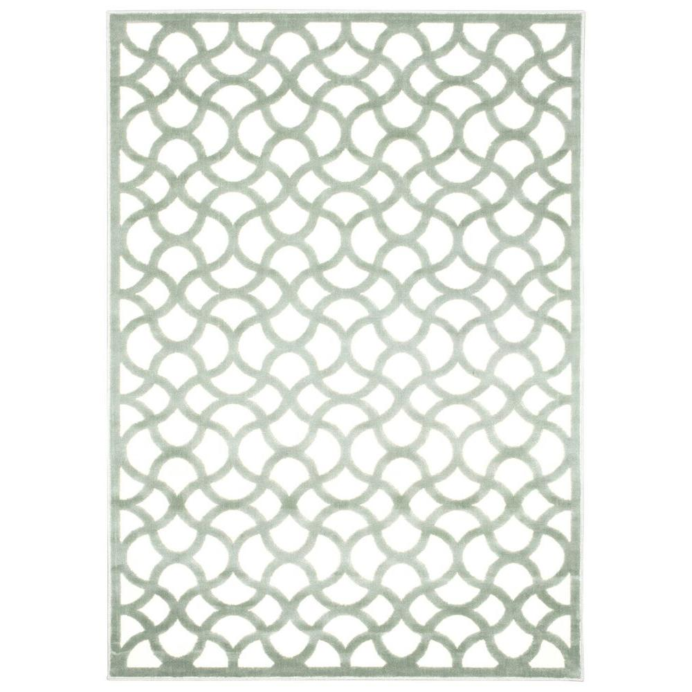 Nourison Ultima Ivory/Aqua 5 ft. 3 in. x 7 ft. 3