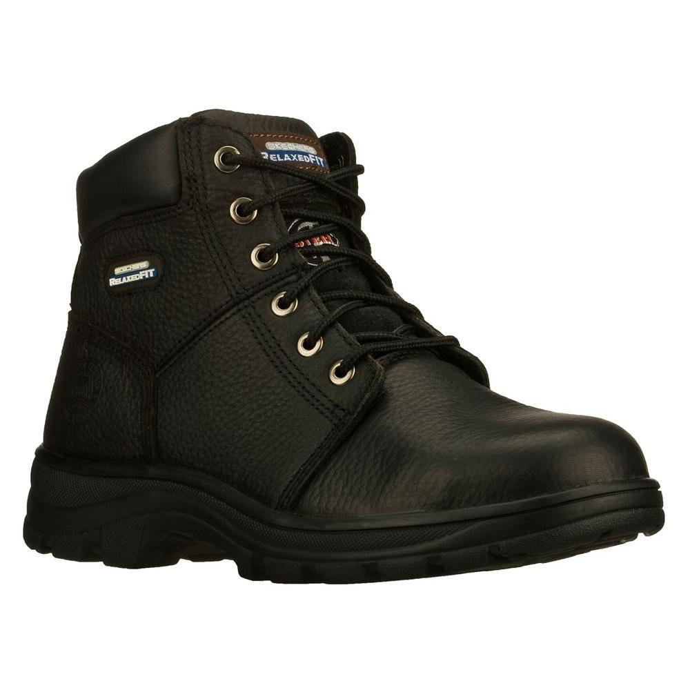 Skechers Workshire Men Size 9 Black Leather Work Boot-77009EW - The