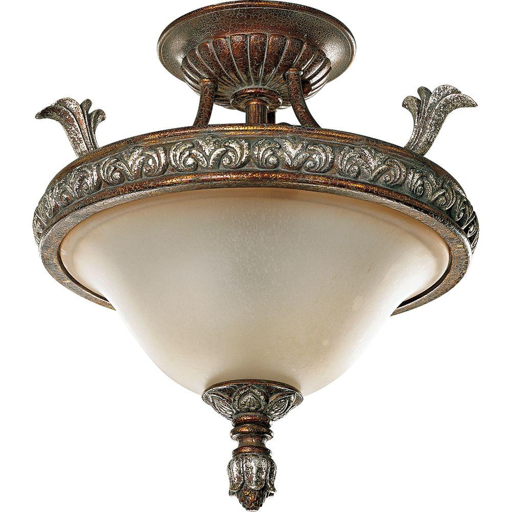 Progress Lighting Carmel Collection Tuscany Crackle 3-light Semi-flushmount-DISCONTINUED