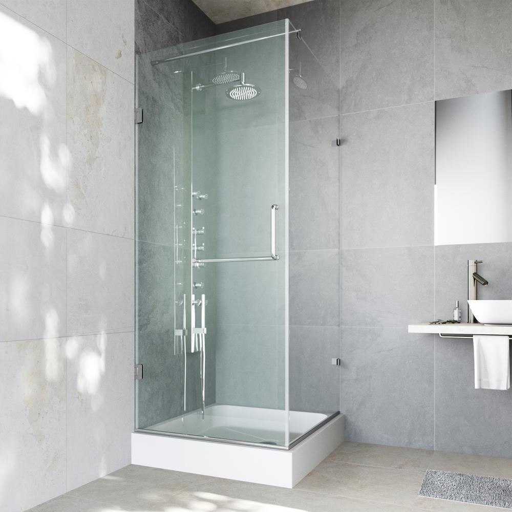 Pacifica 48.125 in. x 74.25 in. Frameless Pivot Shower Enclosure in