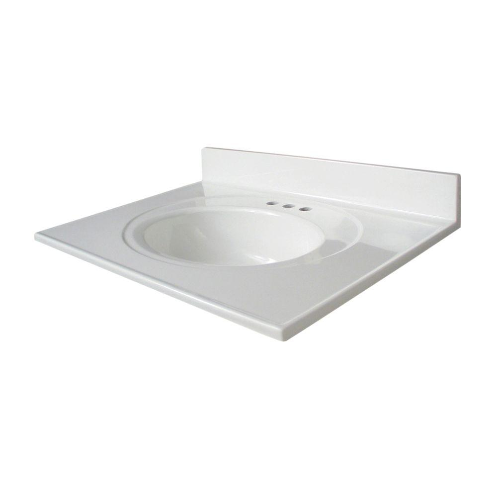 Glacier Bay Newport 31 in. AB Engineered Composite Vanity Top with Basin in White