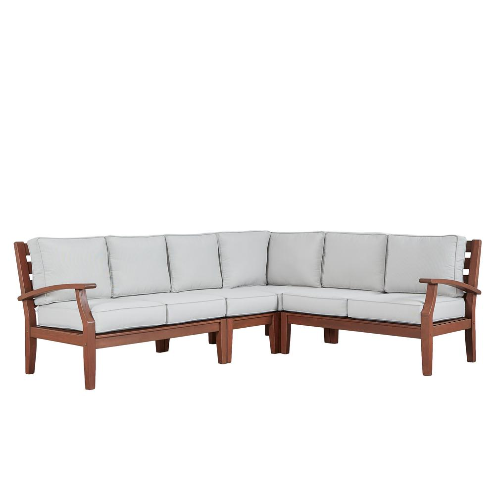 Verdon Gorge Brown 3-Piece Oiled Wood Outdoor Sofa with Beige Cushions